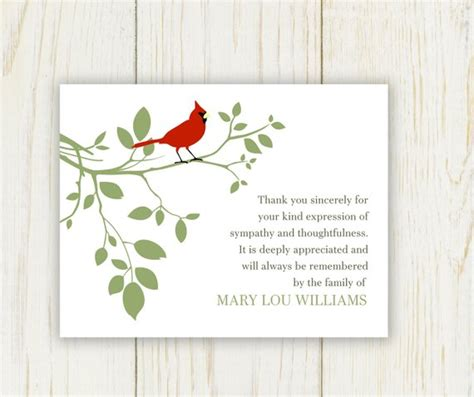Red Bird Funeral Thank You Card Digital Sympathy Card Free Sympathy Thank You Card Templates