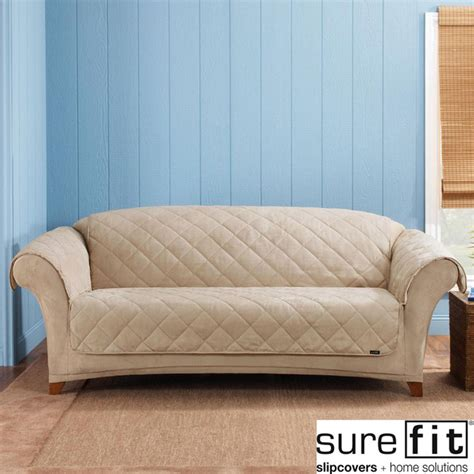 Sure Fit Taupe Reversible Quilted Sherpa Sofa Cover