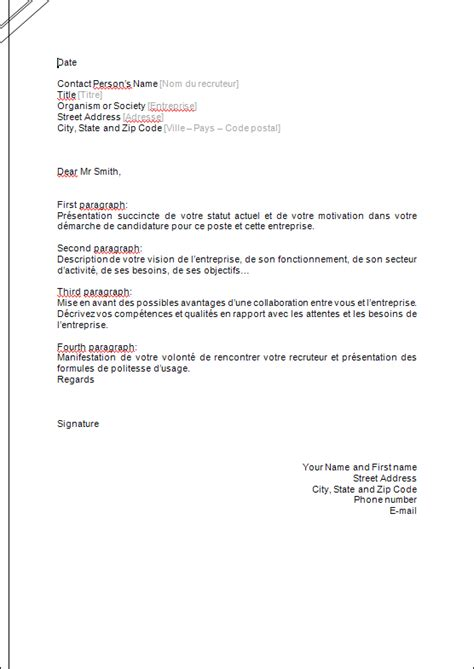 Pr Sentation Lettre De Motivation Exemple exemple de lettre de pr sentation