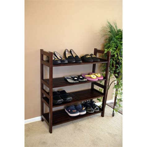 four tier solid mahogany wood media shoe rack bookshelf