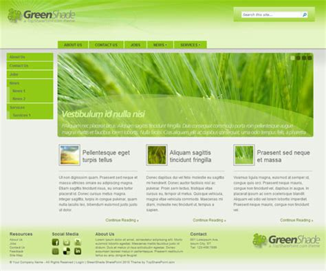 sharepoint layout design exles greenshade free sharepoint 2010 theme best sharepoint