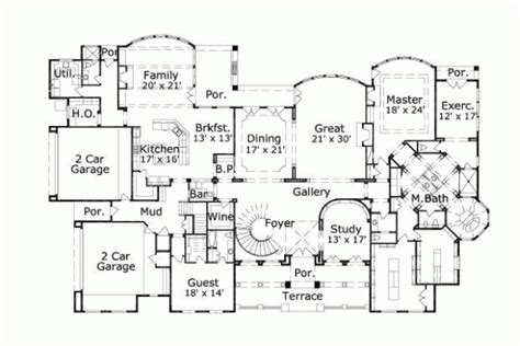 7 bedroom floor plans mediterranean style house plans 10560 square foot home