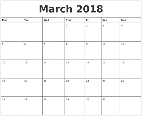 2018 Printable Monthly Calendar March 2018 Printable Monthly Calendar