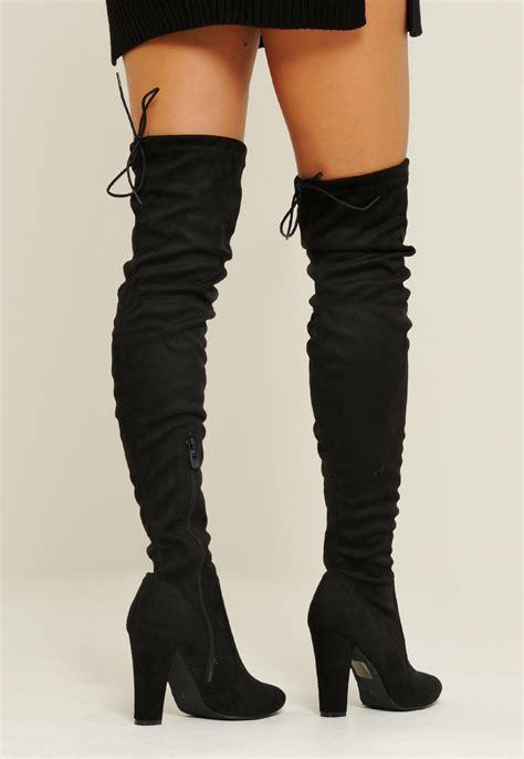 debra heeled knee high tie back boots black 4th reckless