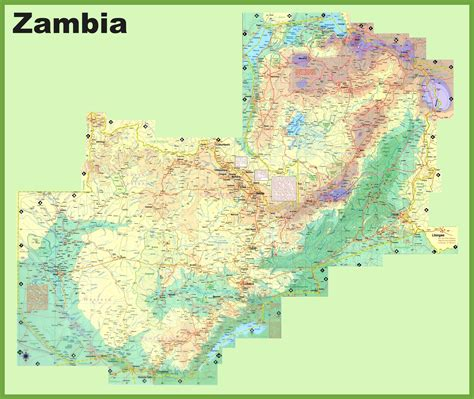 printable map of zambia large detailed map of zambia with cities and towns
