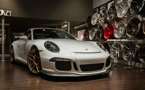 gold porsche gt3 porsche 991 gt3 on gold adv1 wheels