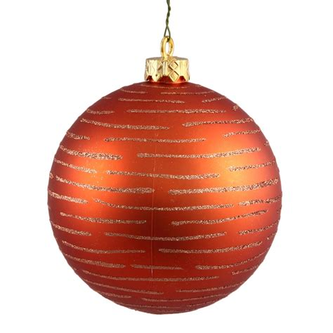 4 75 inch christmas ball with glitter ornament orange