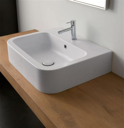 Modern Rectangular Bathroom Sinks Fashionable Contemporary White Ceramic Rectangular Vessel