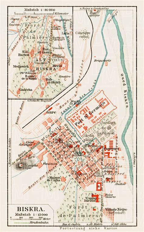 map of algeria cities map of biskra in 1913 buy vintage map replica poster