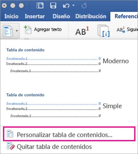 tablas en word 2016 dar formato o personalizar una tabla de contenido en word