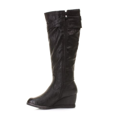 womens xti black wedge heel leather style knee high boots