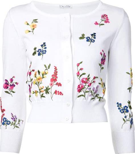 Floral Embroidered Cardigan oscar de la renta floral embroidered cardigan in white