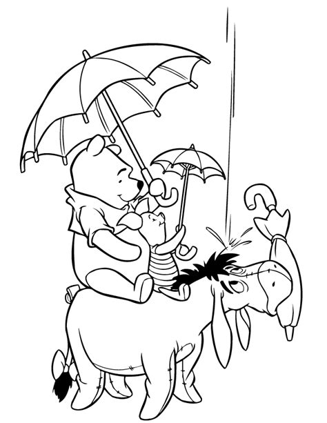 pooh bear and friends in raining winter season coloring