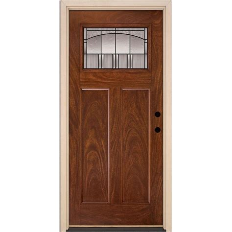 Mahogany Front Door Feather River Doors 37 5 In X 81 625 In Horizon Patina Craftsman Stained Chocolate Mahogany
