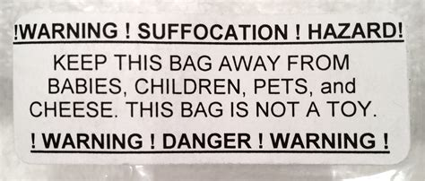 Suffocation Warning Label With Cheese 171 It S Mike Ettner S Blog Suffocation Warning Template