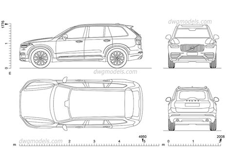 volvo xc  cad drawings autocad blocks  car top view rear front side