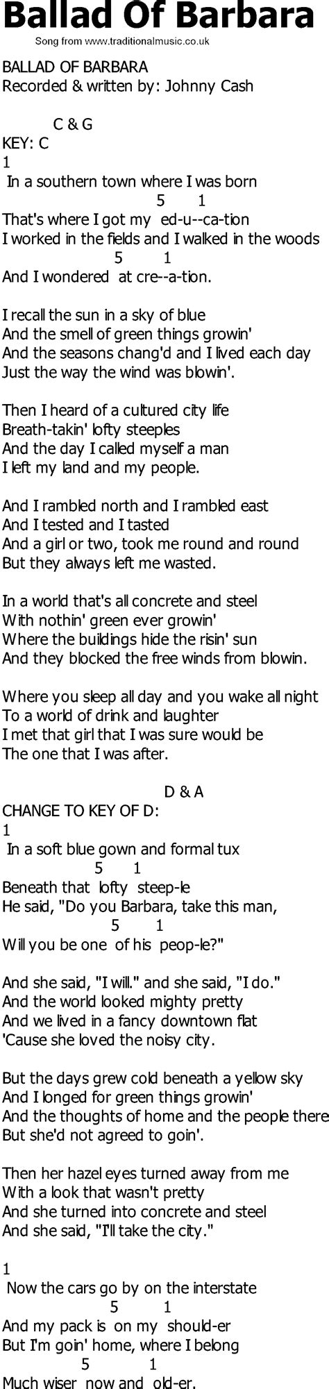 song in country song lyrics with chords ballad of barbara