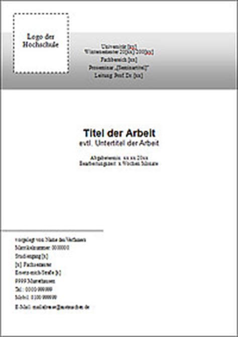 Word Vorlage Thesis word vorlage deckblatt bachelorarbeit 28 images