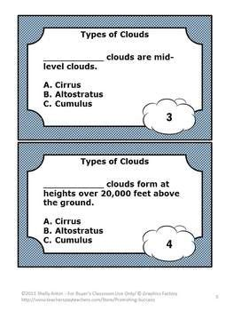 Science Task Card Template by Science Task Cards Types Of Clouds In This 36 Page