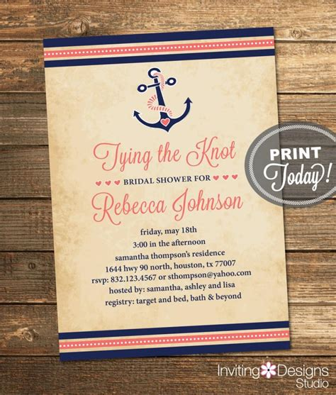 free printable wedding invitations nautical nautical bridal shower invitation tying the knot anchor