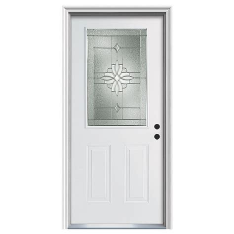 Reliabilt Exterior Doors Shop Reliabilt Laurel Decorative Glass Left Inswing Steel Primed Entry Door Common 36 In