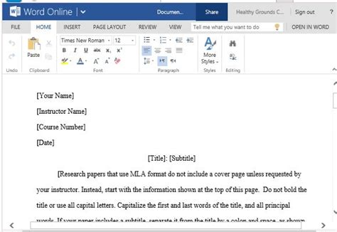 Mla Style Paper Template For Word With Mla Guidelines And Instructions Microsoft Mla Template