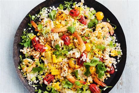 Barbecued seafood and pearl couscous salad