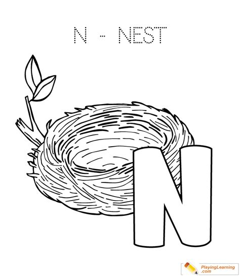 N For Nest Coloring Page by Alphabet Easy Coloring N Is For Nest For