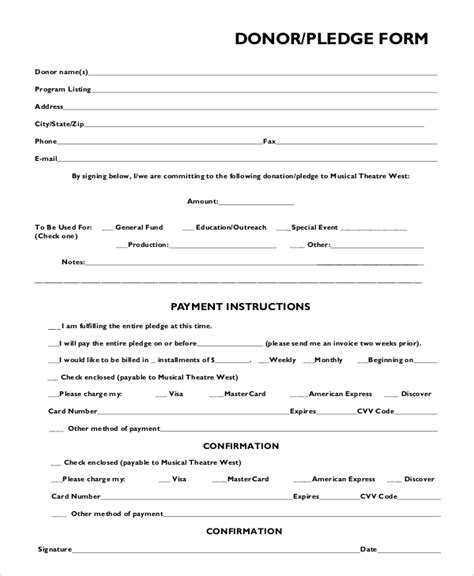 pledge card template word 8 sle pledge forms pdf word sle templates