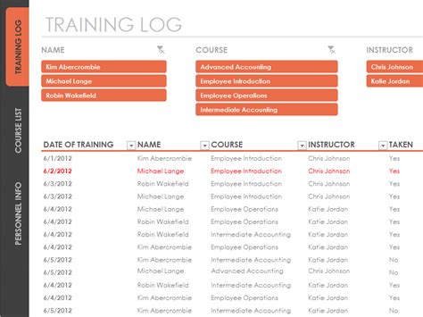 Download Employee Training Tracker Spreadsheet Template Workout Tracker Template Excel
