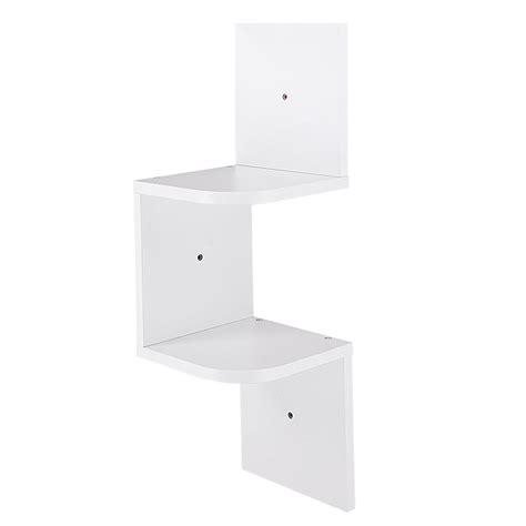 new 2 tiers wall corner wood shelf zig zag floating