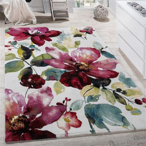 teppich blumen teppich modern leinwand optik teppich blumen muster bunt