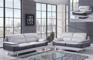 white and gray 3 bonded leather sofa set with chrome
