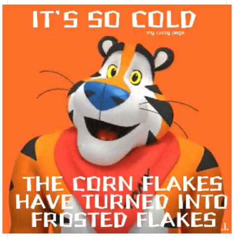Frosted Flakes Meme - it 5 so cold the corn flakes have turned into frosted