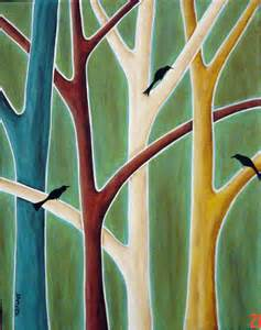 Ebay Duvets Karla Gerard Art Trees And Birds Painting By Karla G
