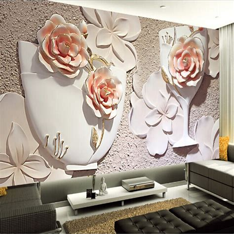 Rose Wall Mural wholesale 3d rose wall mural wallpaper for sofa background