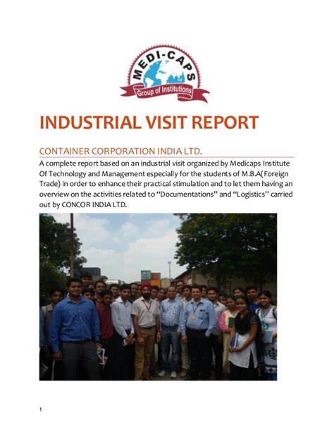 Industrial Visit Report For Mba a sle on industrial visit report for mba students by