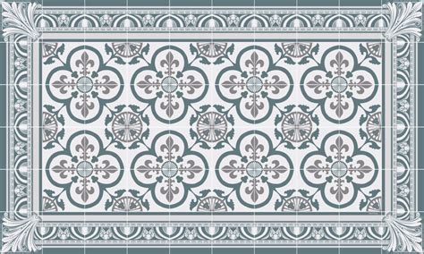Tapis Carreaux De Ciment Vinyl 5869 by Tapis Vinyle Carreaux De Ciment Garance Bleu Gris