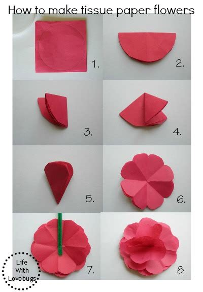 How To Make Paper Flowers - tissue paper flowers with lovebugs