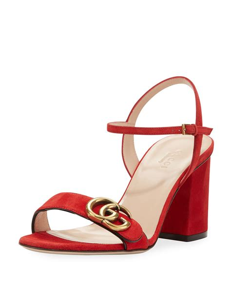 Sandal Hells Gucci 338 lyst gucci marmont suede block heel sandal in