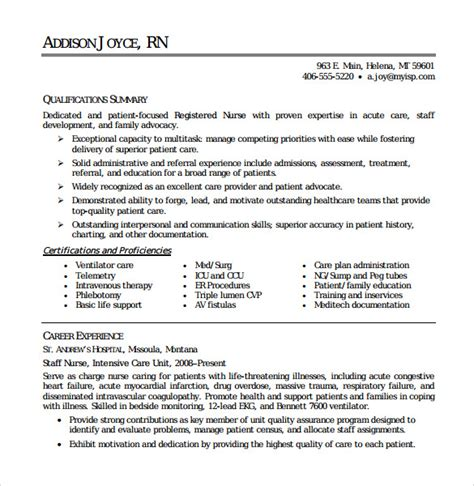 Resume Exles For Nurses Pdf Registered Resume 9 Free Documents In Pdf Word
