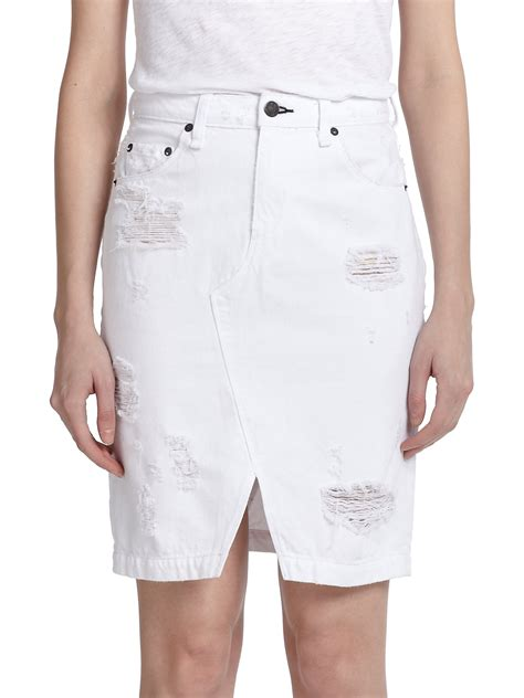 rag bone jean distressed denim skirt in white shredded