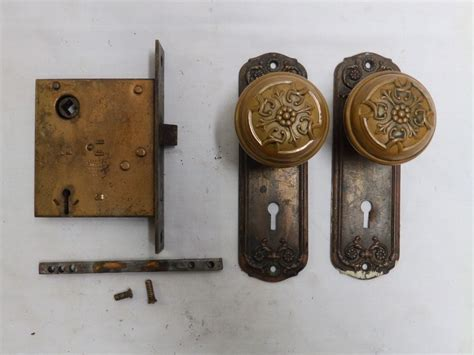 antique brass door knob set back plates mortise decorative