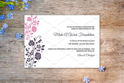 wedding favor donation card template card templates