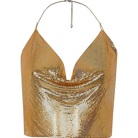 Golden Chain Halter Light gold tone chainmail halter neck top cami sleeveless tops tops
