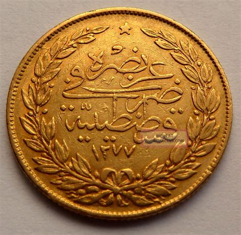 Ottoman Gold Coins Turkey Ottoman Empire 100 Kurush 1277 7 1867 7 2g 0 2126 Oz 0 917 Gold
