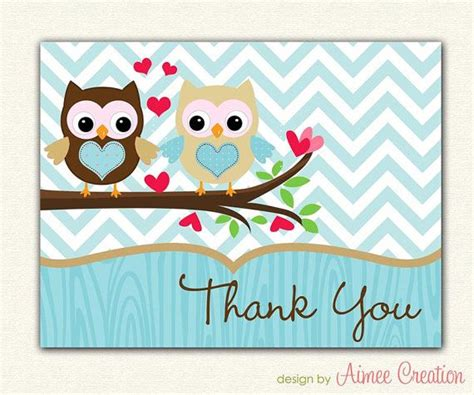 printable owl thank you cards love owl printable thank you card in blue and tan for
