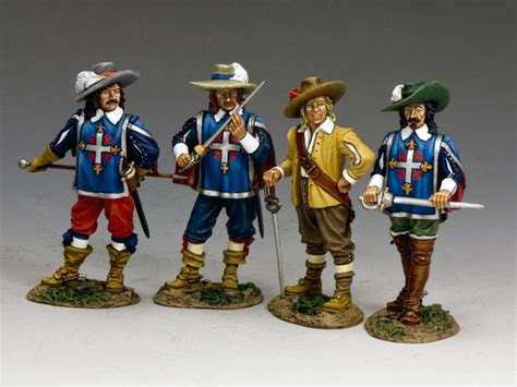 three figures and four benches the 3 musketeers d artagnan four hobby bunker
