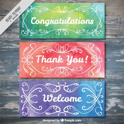 Wedding Congratulation Signs by Ornamental Watercolor Greeting Banners Vector Free