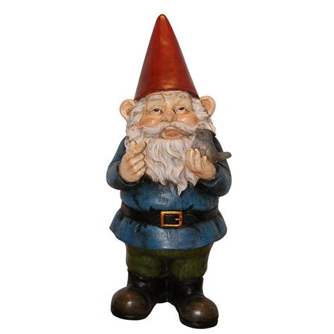 garden gnome alpine 12 in garden gnome holding a bird wac406 the